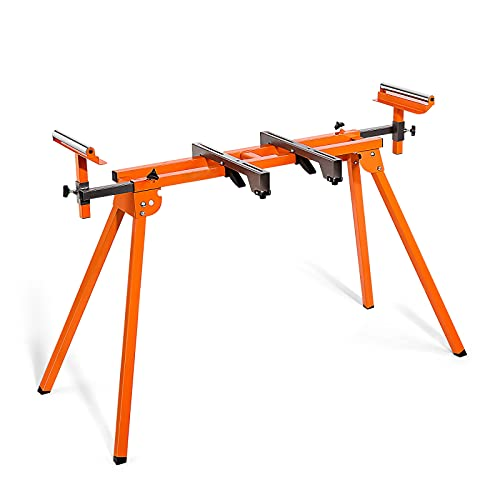 """Miter Saw Stand with Durable Iron Skeleton frame, 21.6lbs Lightweight, 76-4/5"""" Max Sliding Rail, Compatible & Portable, Quick to Install and Remove-MSS01A"""