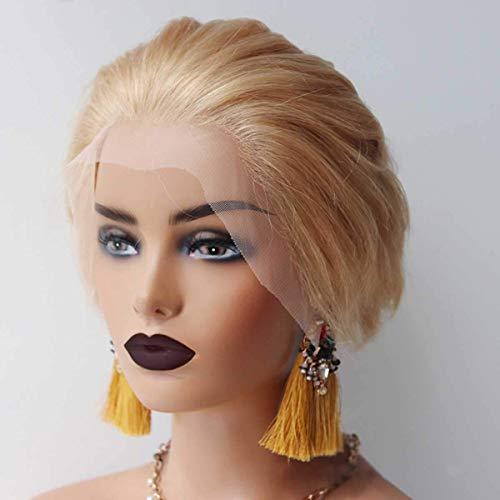 Echt Menselijk Haar Blonde Pruiken, Kant Voor Pruik 6 Inch, 150% Dichtheid, Korte Krullend Pruiken voor Vrouwen Golvend Bob Pruik, Natuurlijke Haarlijn Pruik