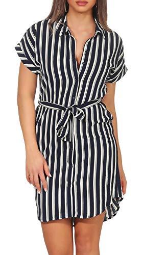 VERO MODA Damen Hemd-Kleid Sasha Shirt 10215424 Navy Blazer/Snow White Coco XS