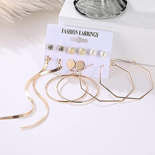FEARRIN Conjunto de Pendientes para Mujer Pendientes de Mujer Pendientes de Perlas para Mujer Joyería Bohemia Pendientes de botón de corazón de Cristal geométrico H66-ZL1491-4