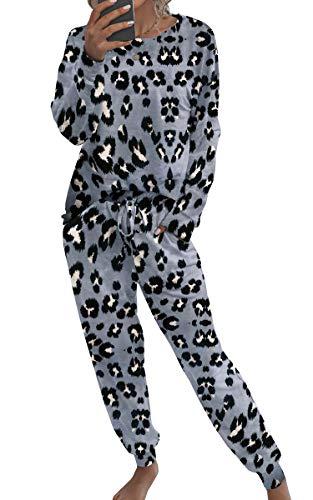 Spec4Y Pyjama Damen Zweiteilige Nachtwäsche Tie Dye Druck Langarm Oberteil Lang Hose Schlafanzug Loungewear mit Taschen 2035 Dunkelgrau Small