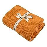 Muslin Blankets, Baby Toddler Quilt, 4 Layers, 100% Cotton Stroller Blanket, Hypoallergenic, Super-Soft, Breathable and Lightweight Swaddle, Nursery & Crib Blanket, Large (47 X 35 inch) (Dark Orange)