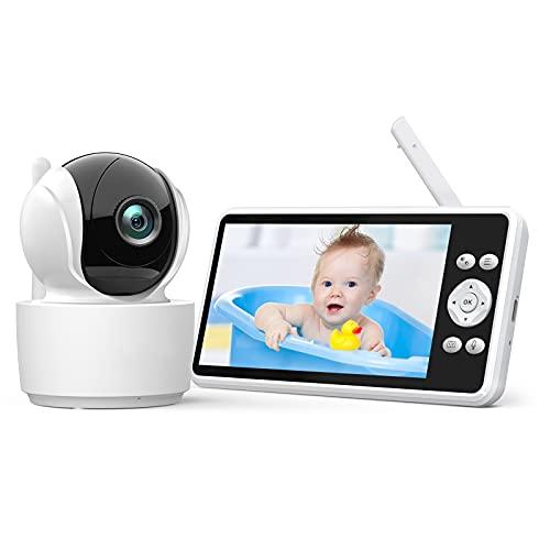 Vigilabebés con Cámara y Audio, 5.0' LCD Bebé Monitor Inteligente, Batería Recargable de 4000mAh, Audio Bidireccional, VOX, Panorámica Inclinación Zoom Visión Nocturna y Sensor de Temperatura