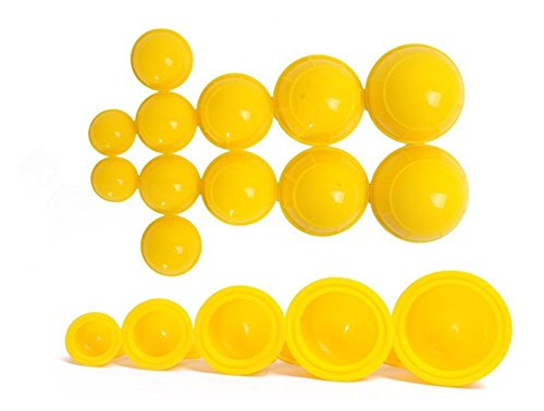 12 Cups Silicone Medical Vacuum Massage Cupping Cups Health Care Travel Set (Yellow)
