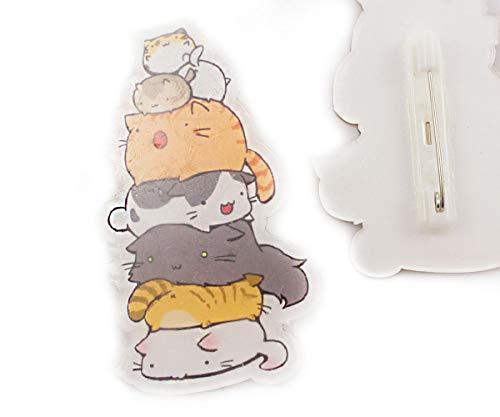 1pc Animales Gatos Acrílico Broche Kawaii Insignia de dibujos animados Pin de 55 mm x 35 mm