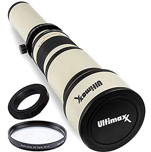 Ultimaxx 650-1300mm Telephoto Zoom Lens Set for Nikon D7500, D500, D600, D610, D700, D750, D800, D810, D850, D3100, D3200, D3300, D3400, D5100, D5200, D5300, D5500