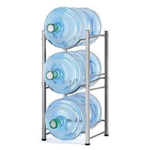 3-stöckiger Wasserflaschenhalter für drei 5-Liter Wasserflaschen, Stabiler Aufbewahrungsregal im Büro, Zuhause und Teehaus, silbern