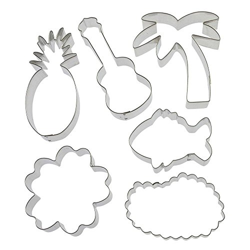 Aloha Cookie Cutter 6 Pc Set HS0425-5.25 in Guitar Ukulele, 3.75 in Hibisucs, 5.25 in Pineapple, 3.5 Tropical Fish, 4 in Lei, 5 in Palm Tree - Foose Cookie Cutters - USA Tin Plate Steel