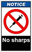 かわいい装飾、イン、No Sharps2通知サイン-壁サインアート鉄の絵レトロメタルプラーク装飾警告サインカフェバースーパーマーケットカフェテリアホーム