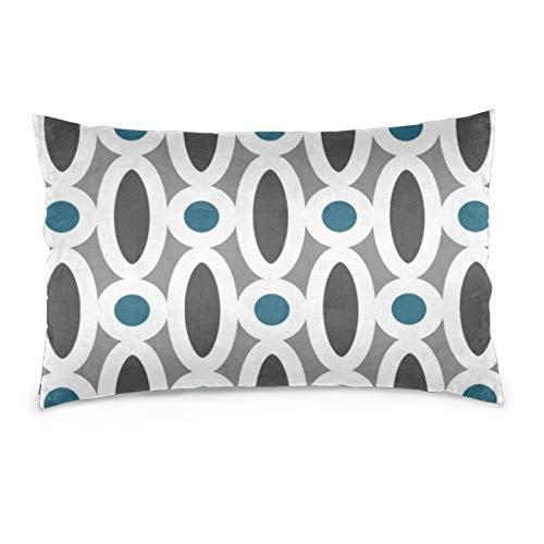 Fundas de cojín de terciopelo, rectangulares, suaves y decorativas, para sofá, dormitorio, coche, 40,6 x 60,9 cm (moderno patrón de eslabones ovalados en verde azulado y gris)