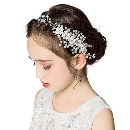 IYOU Fascia per capelli da principessa con cristalli motivo floreale per comunione per fiori e damigelle d'onore
