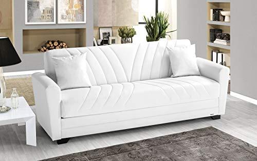 Sofá de 3 plazas blanco de piel sintética – 220 x 88 x 83 cm – Compartimento contenedor, convertible en cama de una plaza y media.