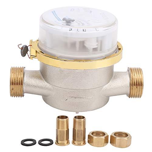 Fockety Wasserzähler-Durchflussmesser, mechanischer Kaltwasserzähler BSPT 1/2, hochpräziser mechanischer Drehflügel-Wasserzähler für Rohrleitungen, Häuser, Gärten usw.