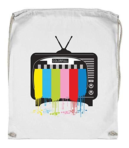 Druckerlebnis24 Turnbeutel - Fernseher Tv Flachbildschirm Receiver - Stoffbeutel aus Bio Baumwolle