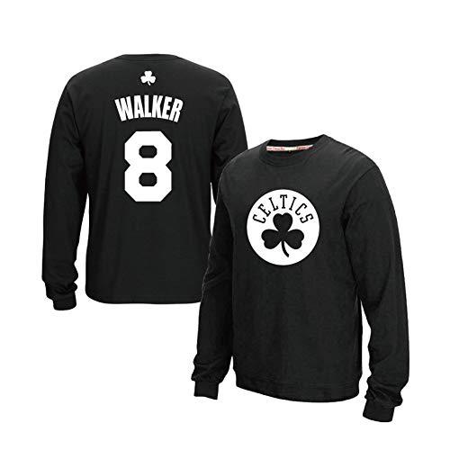 Camiseta de manga larga para hombre y mujer Boston Celtics #8 Kemba Walker, para deportes, ocio y cuello redondo
