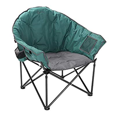 ARROWHEAD OUTDOOR Oversized Heavy-Duty Club Folding Camping Chair w/External Pocket, Cup Holder, Portable, Padded, Moon, Round, Saucer, Supports 330lbs, Carrying Bag, USA-Based Support (Green)