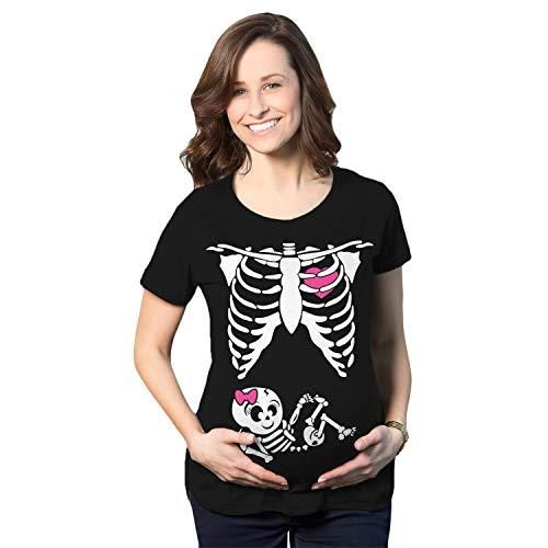 Crazy Dog Tshirts - Maternity Baby Girl Skeleton Cute Halloween Pregnancy Bump Tshirt (Black) - S - Femme