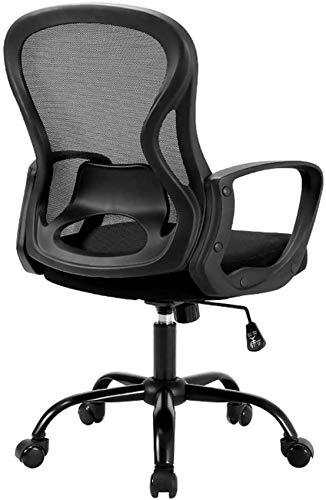 DFJU Cadeira de Mesa de escritório, encosto ergonômico com apoio lombar, banquinho Moderno ajustável, cadeira executiva giratória, fácil de Montar, suporte de Carga 150KG, Preto e Branco