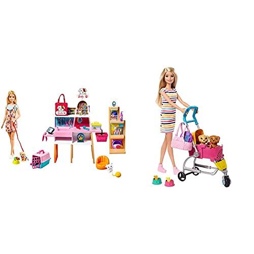 Barbie Tienda De Mascotas Muñeca con Establecimiento De Animales Y Accesorios para Mascotas De Juguete (Mattel Grg90) + Y Su Carrito para Mascotas, Muñeca Rubia con Accesorios Y Perritos