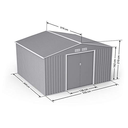 BillyOh Ranger Light Grey Apex Metal Shed With Foundation Kit (11 x 10)