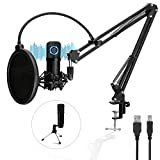 Pro Condenser Microphone, TonyKey PC Microphone with Adjustable Scissor & Tripod Stand, 192kHz/24bit Studio Microphone Podcast Equipment Kit for Computer Gaming Recording Streaming Podcasting YouTube