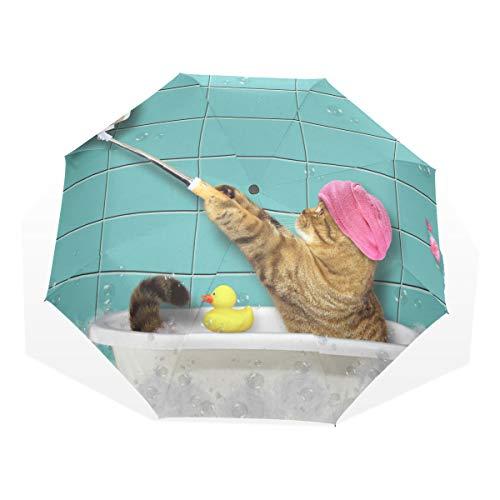 XiangHeFu Regenschirm Badewanne Selfie Cat 3 Falten leichte Anti-UV