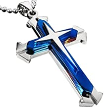 Blue Cross Pendant Necklace Jewelry Long Chain for Men Women 42CM