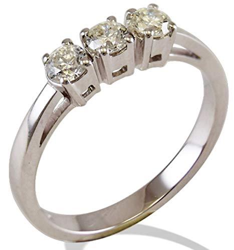 Anello Trilogy Gemoro in oro bianco e diamanti FT246BIA46 misura 14,50