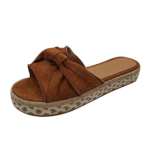 Zapatillas de Verano, Zapatillas de Planas Sandalias de tacón Alto para Mujer, Bohemia Moda Casual Zapatos de Exterior para Mujer, Sandalias de cuña de Zueco básico, Sandalias con Chanclas