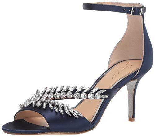 Jewel Badgley Mischka Women's KAILEE Sandal, navy satin, 5.5 M US