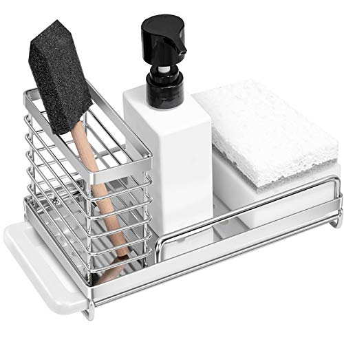 Orimade Sink Caddy Organizer with Drain Pan Kitchen Countertop Dish Sponge Brush Soap Holder SUS304 Stainless Steel
