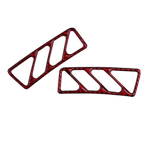 CCHAO 1 par de fibra de carbono tablero rojo de la cubierta de salida de ventilación de ventilación de ventilación de la cubierta de la etiqueta engomada del ajuste para Chevrolet Camaro 2010 2011 201