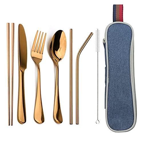 White Poplar Zchunrong - Juego de vajilla portátil reutilizable para viajes, camping, vajilla con cuchara, tenedor, palillos, paja y bolsa CC (color: caja azul rosa)