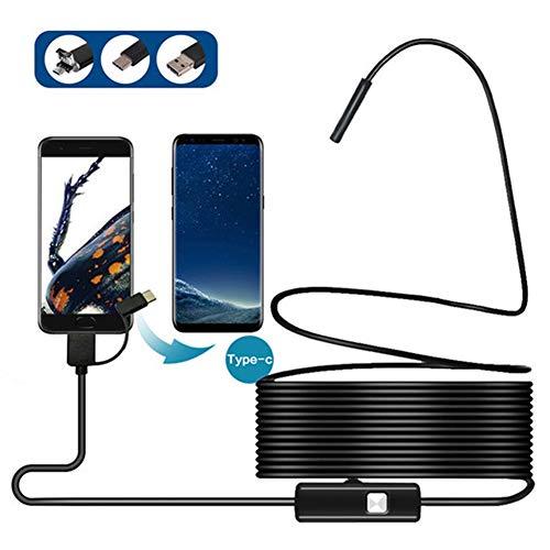 BEO USB endoscopio 3 in 1 periscopio del USB/Micro USB/Tipo-c Fotografica Impermeabile di Controllo del Serpente con 6 luci LED per Android, Computer, Windows (8m),1.5m