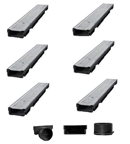 Bielbet Entwässerungsrinne h= 55mm 14,50€/m 6m Set inkl.Endkappen und Anschlussstück DN110
