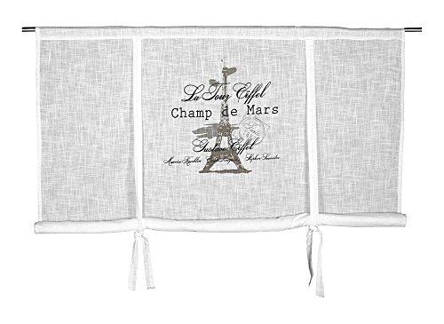 Scheibengardine Raff Gardine Raffrollo Vorhang 'Eiffel' 140 x 120 cm (BxH) weiß mit Stempel Aufdruck in grau schwarz Baumwolle Landhaus Shabby French Vintage Retro Antik Nostalgie