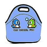AOOEDM Old School Fun - Bubble Bobble - Bub And Bob - Arcade Fun + Retro Love Work School Picnic Bolsa de almuerzo aislada Tote Fiambrera reutilizable para hombres mujeres niños