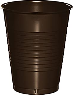 Creative Converting 28303881 20 Count Touch of Color Plastic Cups, 16 oz, Chocolate Brown