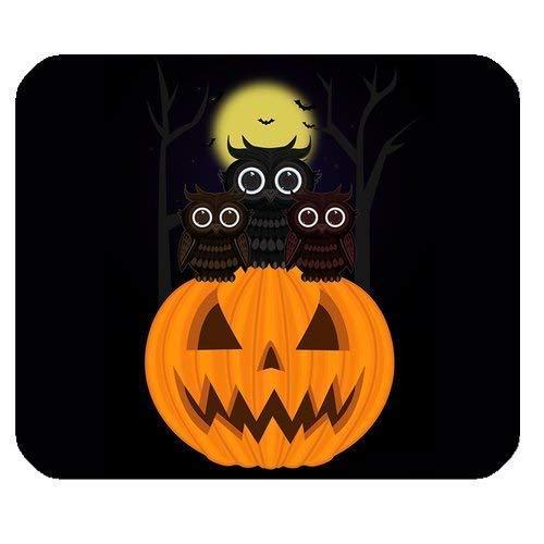 Generische personalisierte Cartoon Moon Night Owl und Hallowmas Halloween Kürbis Laterne für Rechteck Mauspad