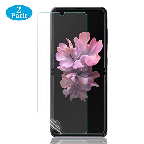 ELYCO 2 Stück Schutzfolie für Samsung Galaxy Flip Z, [Hüllenfreundlich] Klar HD Weich TPU Folie Höhe Empfindlichkeit, Anti-Kratz Vollständige Abdeckung Displayschutz Samsung Galaxy Flip Z