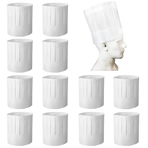BIGNC 12 Pack Disposable 9' Paper Chef Tall Hat for Food Restaurants, Home Kitchen, School, Classes, Catering Equipment or Birthday Party White