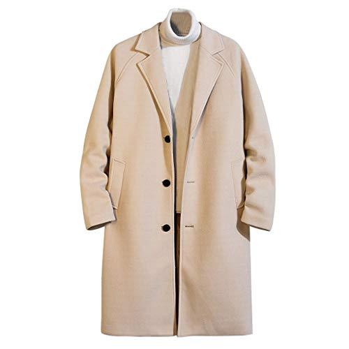Supertong Herren Mantel Business Wollmantel Warm Wintermantel Lange Trenchcoat Wolljacke Jacken Einfarbig Umlegekragen Langarm Knopf Wolle Cardigan Mäntel