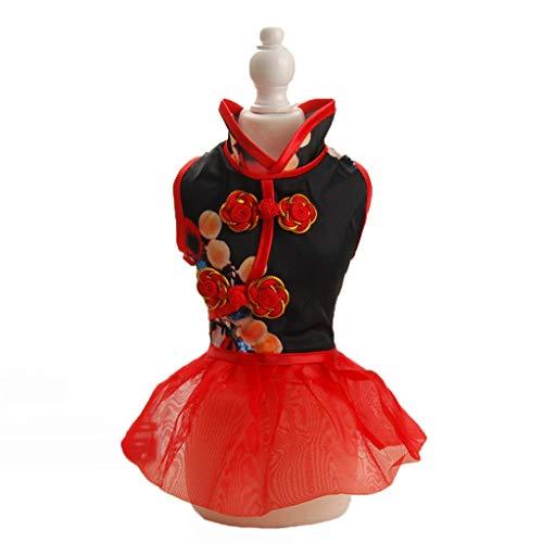 QLMS Chinesischen Stil Haustier Kleidung Frühling und Sommer Stickerei Peking Oper Maske Cheongsam Rock Thai kleinen und mittleren Hund Teddy Hund Tang Anzug (Color : Red, Size : XL)