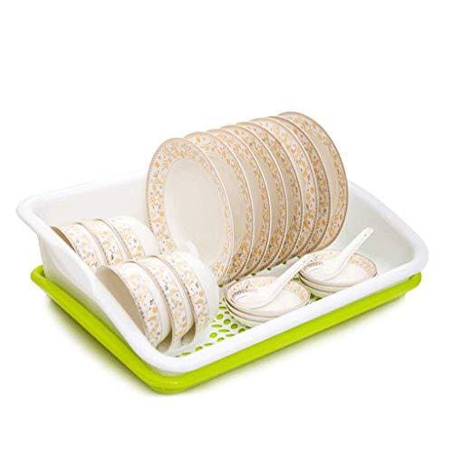 Utensilio sostenedor del plato del plato/Bastidores de cocina el estante plástico del plato fregadero Escurridor Escurridor secado Panel de drenaje del plato estante de secado (Color: Azul) YUANQI
