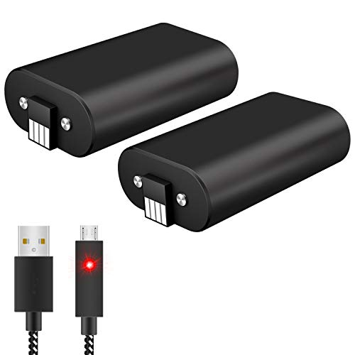 Controller Battery Pack for Xbox One, 2Pcs X 1600 mAh Rechargeable Batteries with 10FT USB Charging...