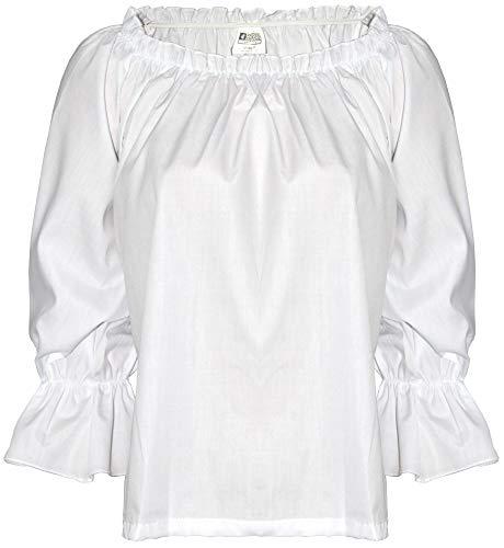 Foxxeo Piratenbluse für Damen Piratenhemd weiß Mittelalter Bluse Hemd Karneval Fasching LARP Outfit S-XL, Größe:XL