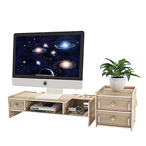 XYSQWZ Monitor Stand Raiser Stand For Monitor Laptop Computer TV, Computer Desktop Organiser With Drawers Desk Stand for Keyboard Storage Multi-Media Lapto (Color : Picture Color, Size : 64x20x16cm)