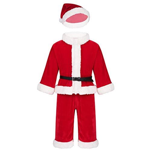 IEFIEL Disfraz Navidad Papá Noel Santa Claus para Bebé Niño Niña Vestido/Chaqueta Manga Larga Pantalones Gorro Traje Navideño Invierno Rojo Niño 2-3 años