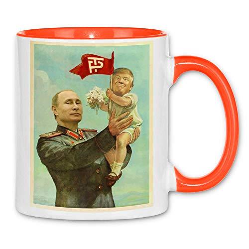 wowshirt Tasse Trump Poutine URSS soviétique CCCP, Couleur:White - Orange