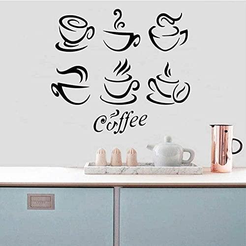 57x63cm Etiqueta engomada de la pared de café 3D Pegatinas de pared extraíbles DIY Papel pintado extraíble Etiqueta engomada de la pared Etiquetas de arte